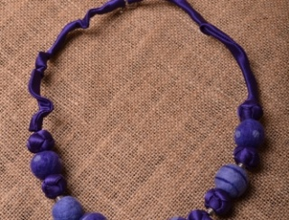 Violet Felt and Dell Bead Necklace